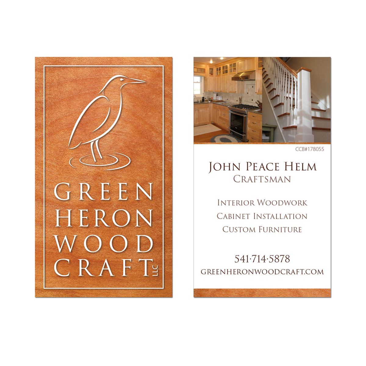Green Heron Woodcraft Logo And Business Card On Behance