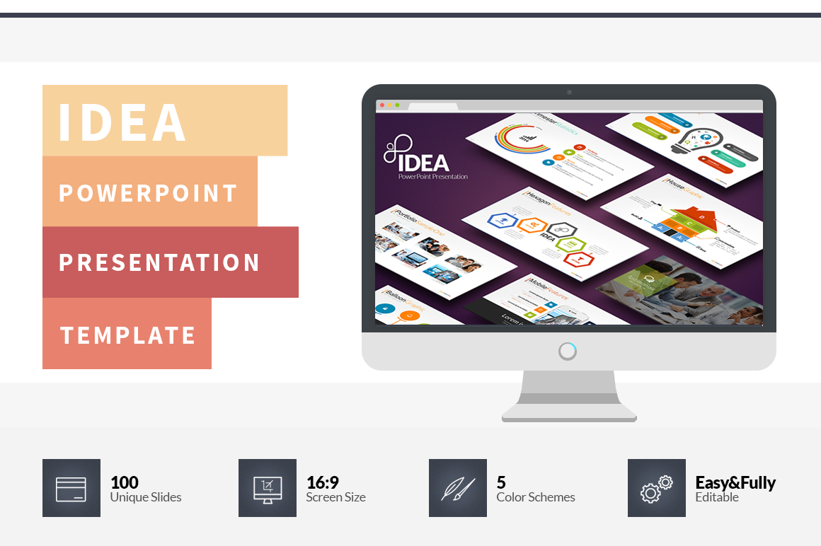 Extrêmement Idea Flat PowerPoint Presentation Template on Behance BA89