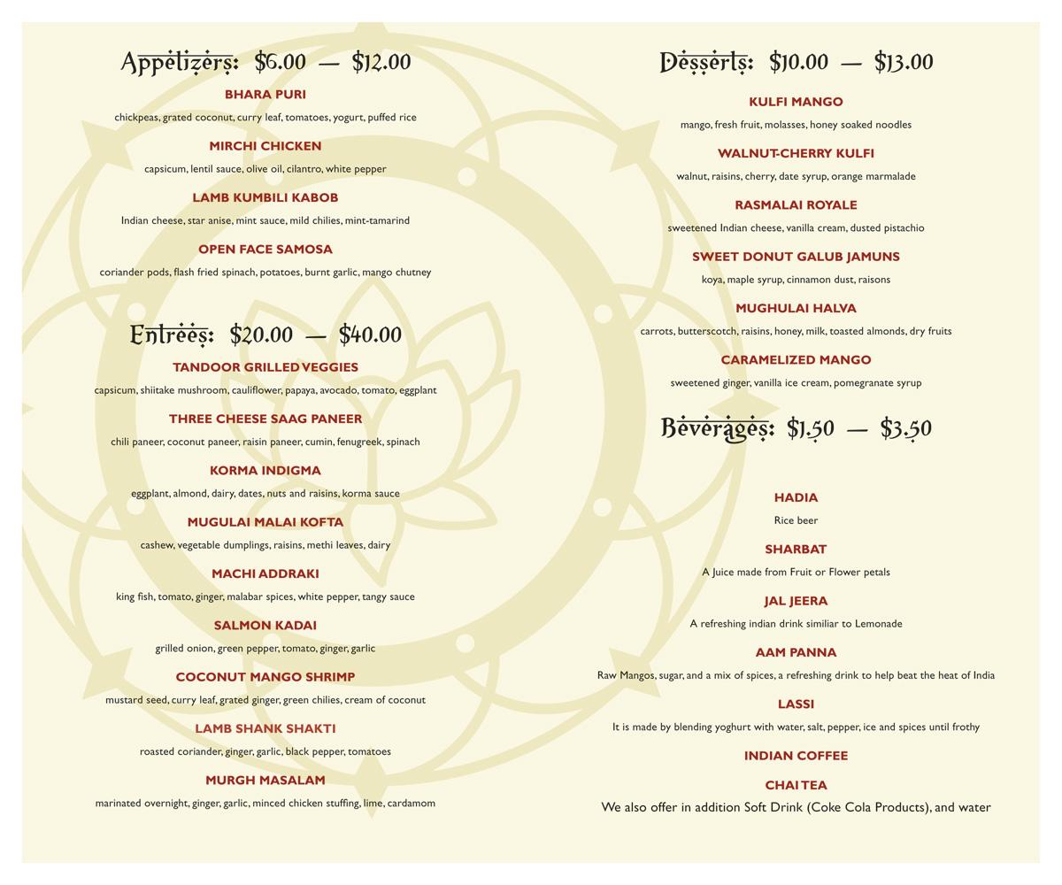 Mehndi Menu Ellesmere Port : Mehndi restaurant logo and menu on behance