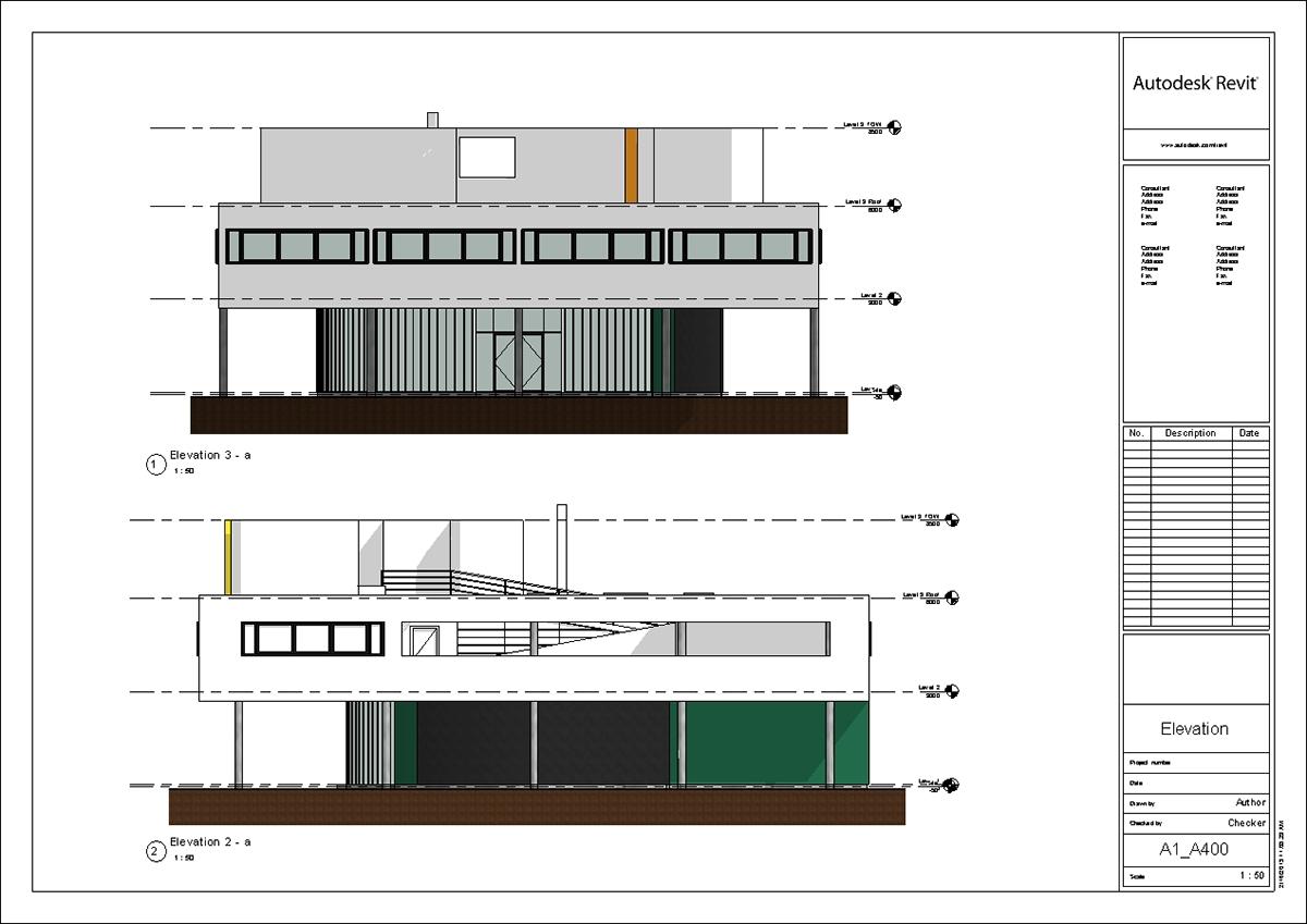 Elevation Plan On D Max : Villa savoye revit model le corbusier update on behance