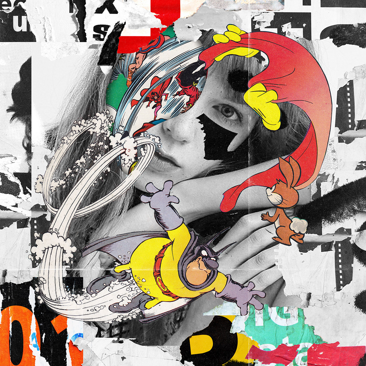 artwork black and white collage cut and paste digital graphic graphic design  ILLUSTRATION  イラスト コラージュ