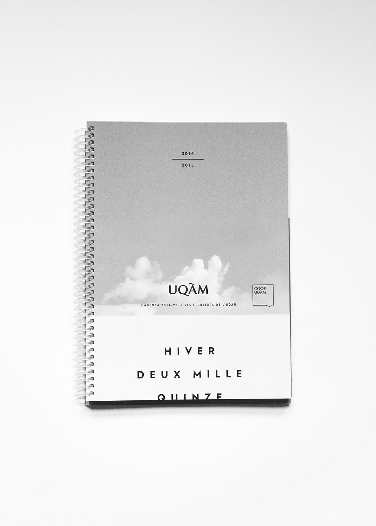 UQAM agenda hiver winter school école book cover Diary université University livre