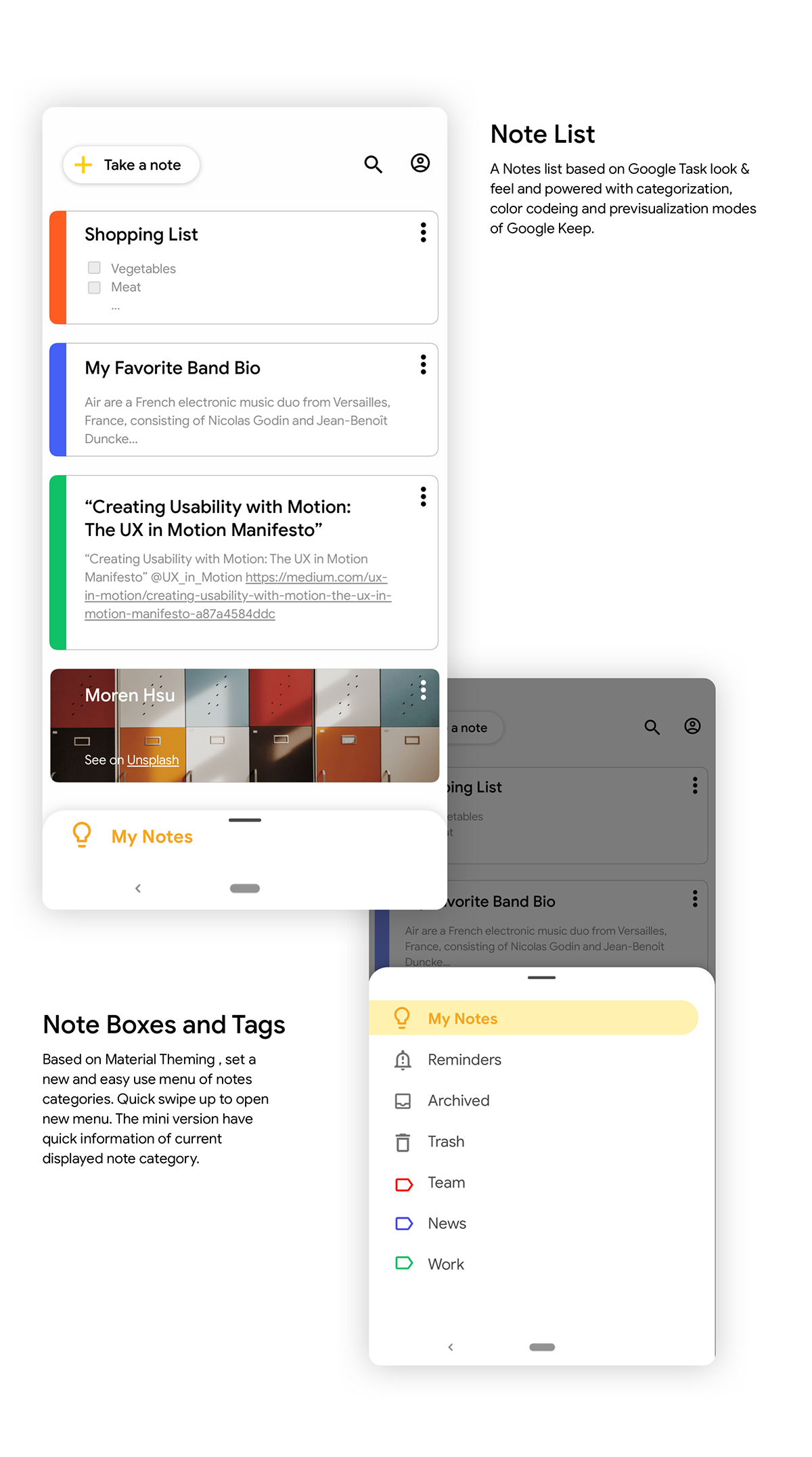 Google Keep Concept on Pantone Canvas Gallery