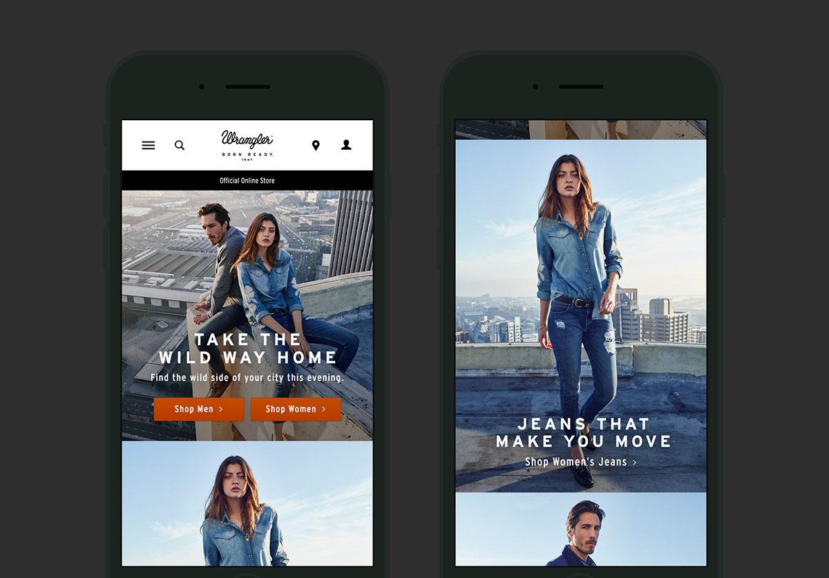 Wrangler Demin ecom microsite contextual mobile Ecommerce Fashion