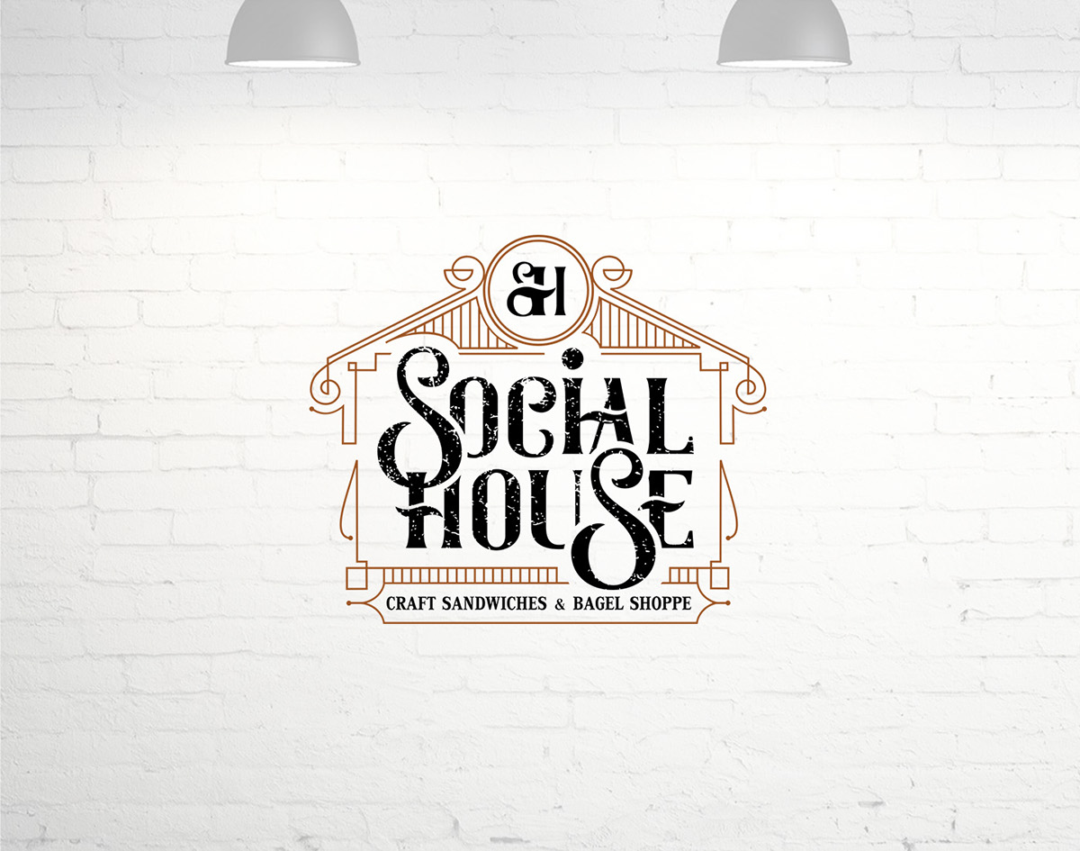 restaurant vintage house lineart diner eatery social SH monogram typography