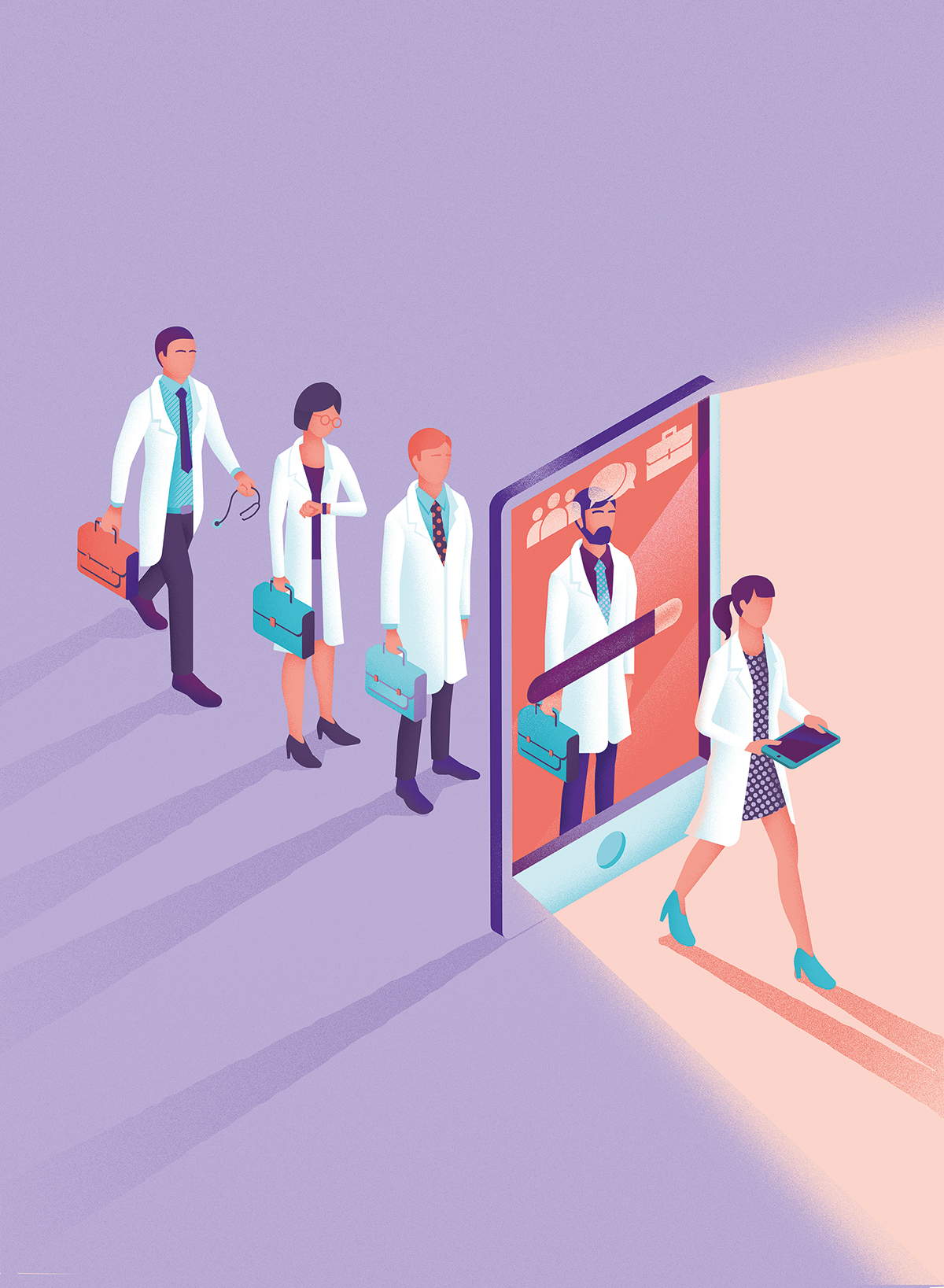 medical Technology iPad tablet doctors medicine Magazine Cover Editiorial Isometric characters evolution progress Education walking