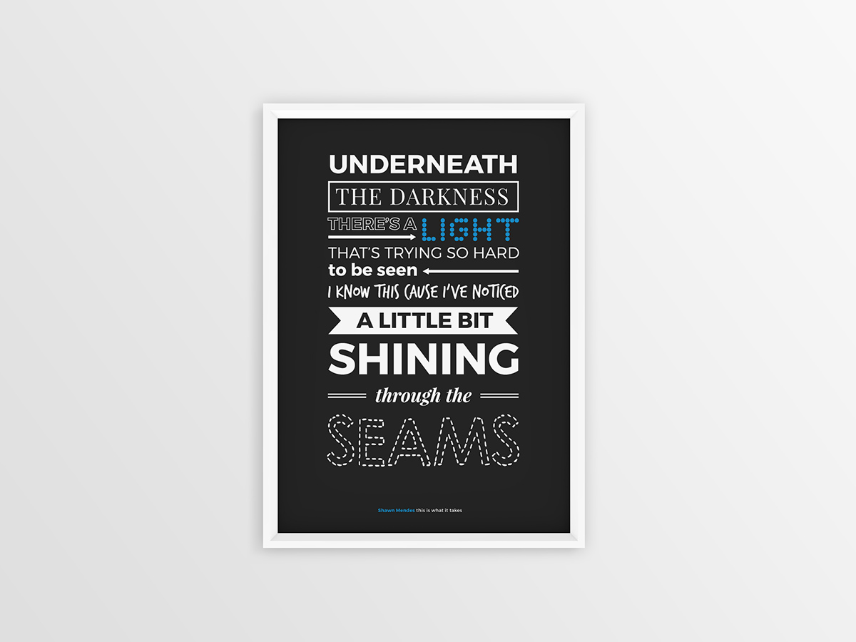 Shawn Mendes Handwritten Typography Posters 1 3 On Behance