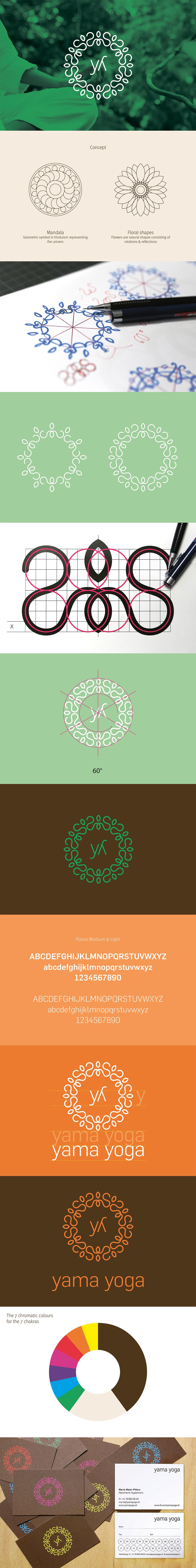 Yoga yama logo brand meditation calm floral shape Mandala corporate studio chakra color adicto swiss