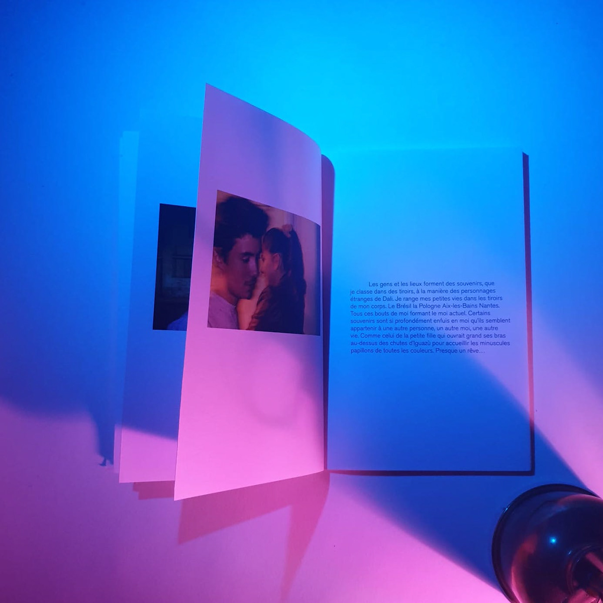 Bookbinding Photography  self-reflection essay Autobiography edition neon lights