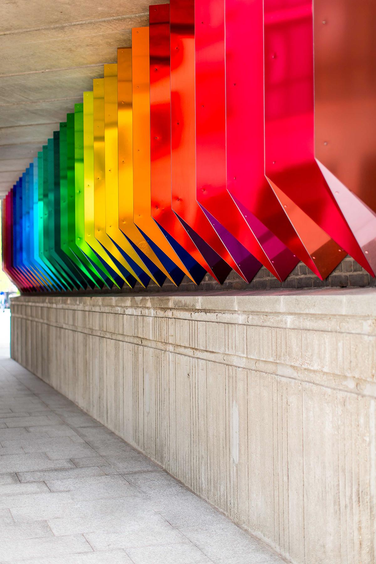 bridge color colorful colour Colourful  Installation Art light London origami  site specific