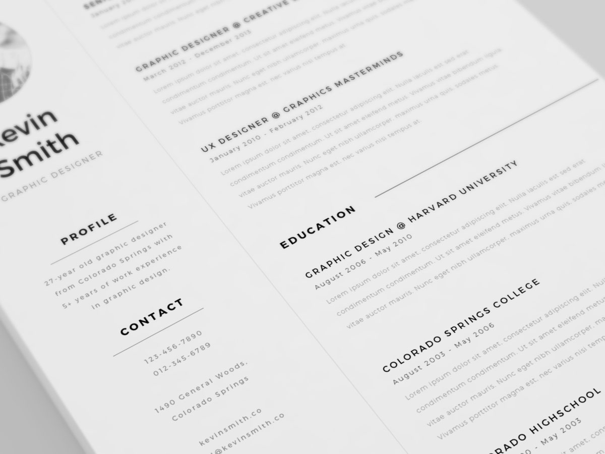 free clean  amp  minimal resume template on behance