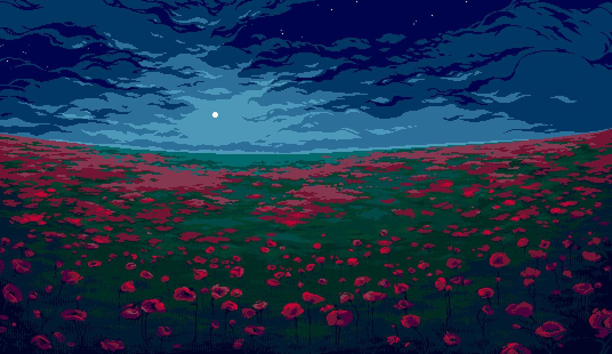 pixel pixelart pixel-art pixels background bgr poppy poppies field MORNING Day Evening night Landscape palette