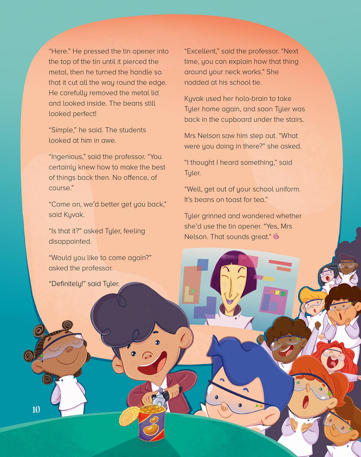 Storytime children ILLUSTRATION  book cupboard stairs magazine future children book
