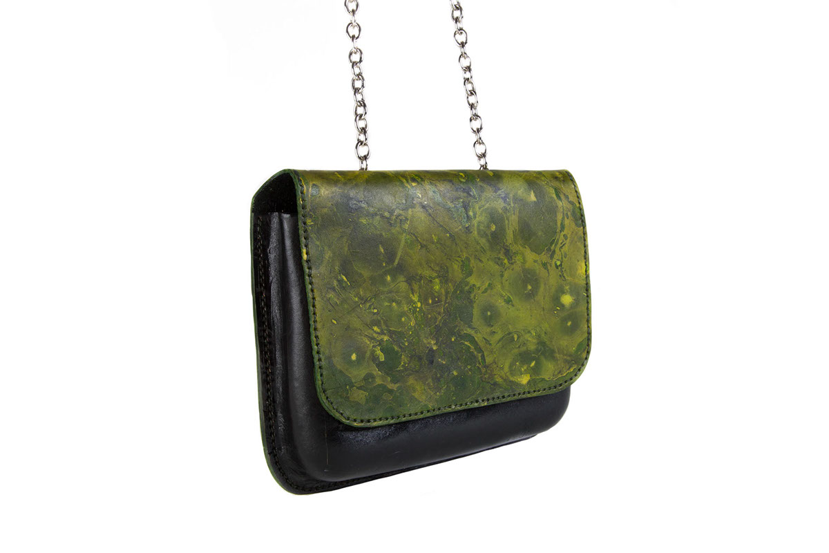 accessory design handbags accessories leather Marble paint Handstiching