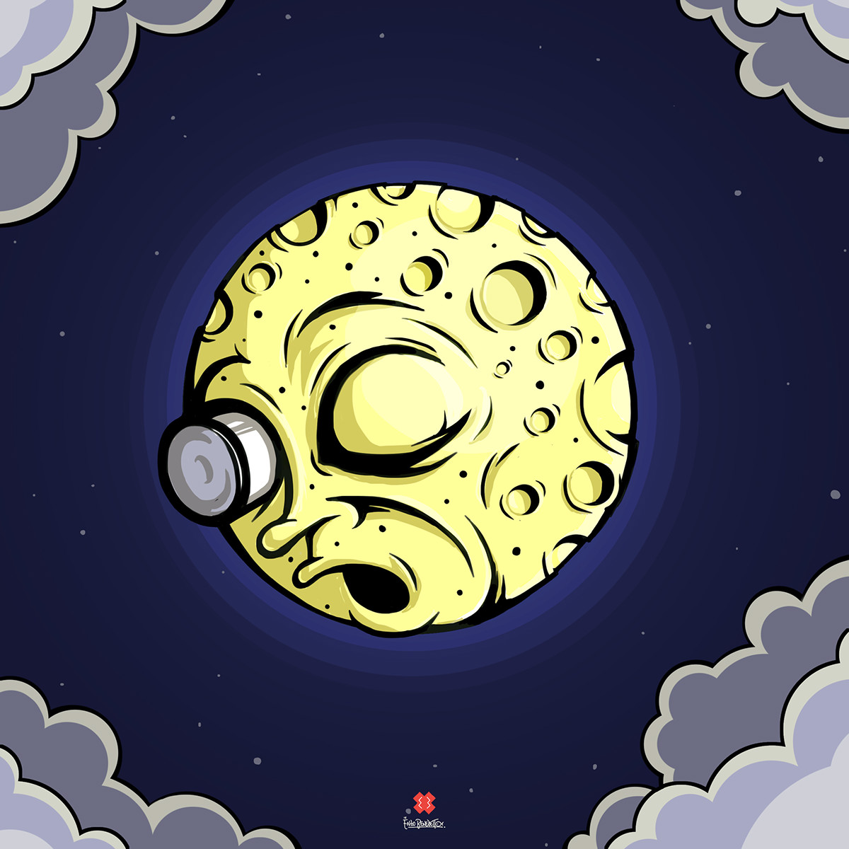 moon,voyage,luna,lune,me,georges melies,Enzo Benedetto,ROCKET MOON,notte