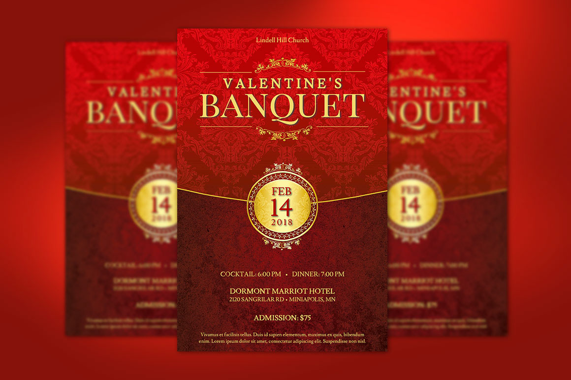 red valentines banquet flyer templett on behance