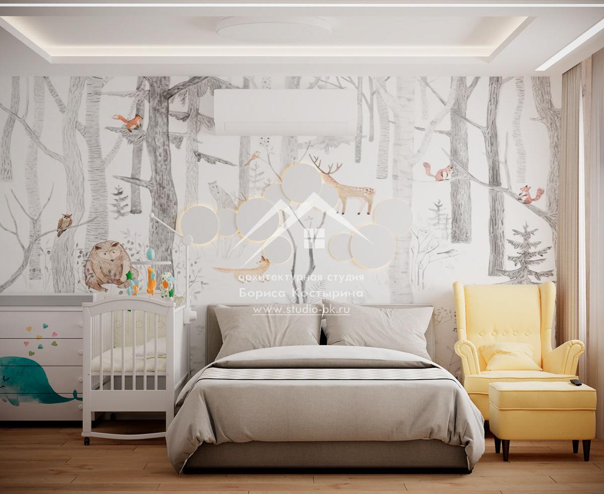 Дизайн интерьера спальни обои-панно для стен панно проект спальни спальня