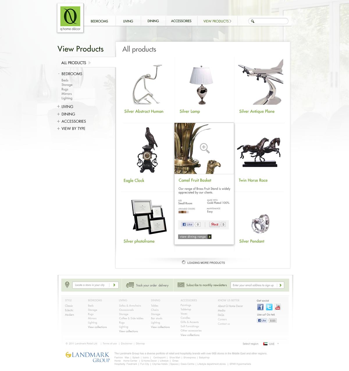Q Home Decor india web design home decoration online furniture collection lifestyle website  dubai