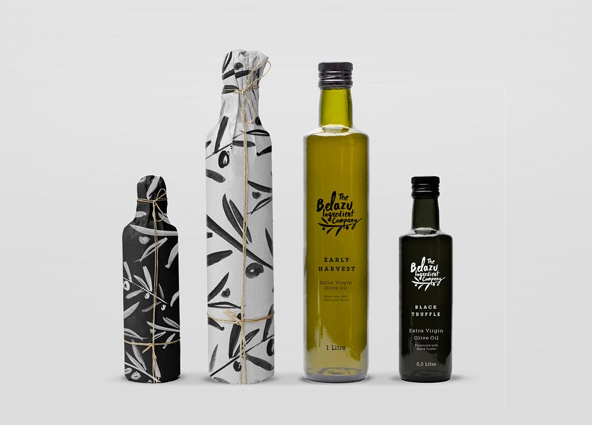 olive oil bottle paper logo brush