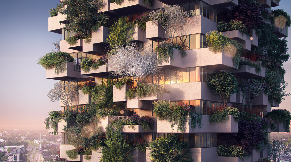 vertical forest rendering 3D ILLUSTRATION  High Rise residential architecture architectural visualization Render artist impression
