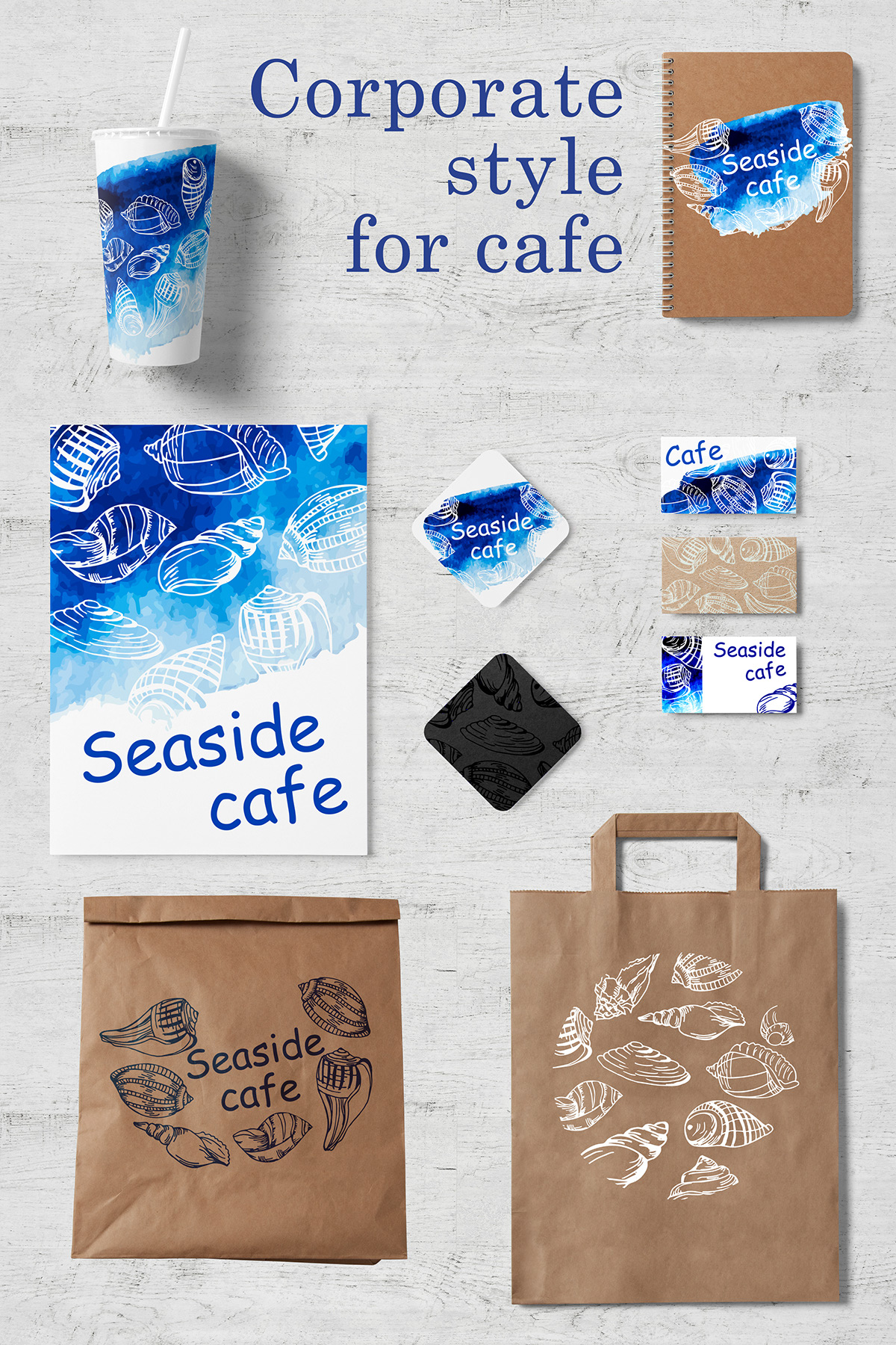 Seaside cafe  Retro card or flyer  Corporate identity on Behance