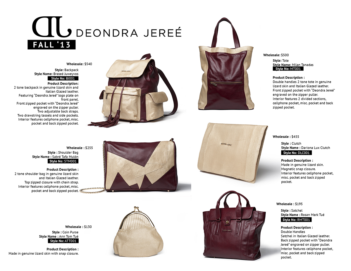 Line Sheet Design For Fashion Handbags On Behance