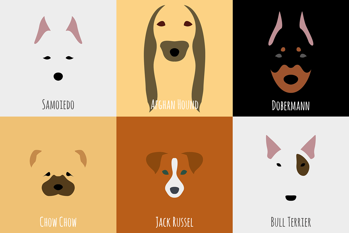 negative Space  flat design eyes Mouth ears nose muzzle dog Breed bone pattern footprint puzzle