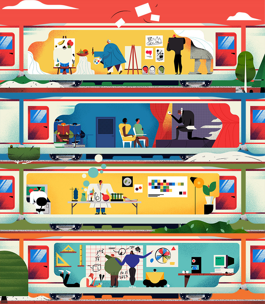 adam avery illustration the guardian university guide  train carriages showing different professions