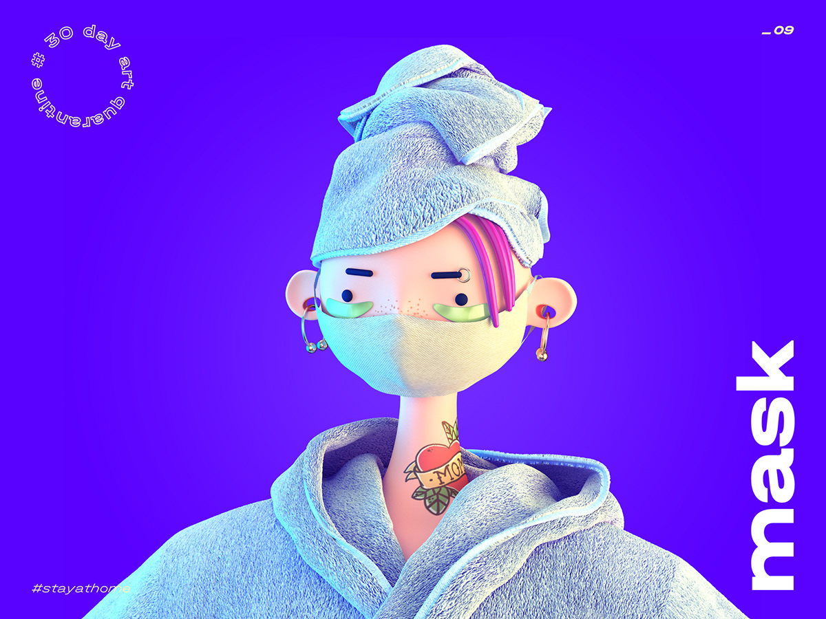 3d illustration cartoon bath mask