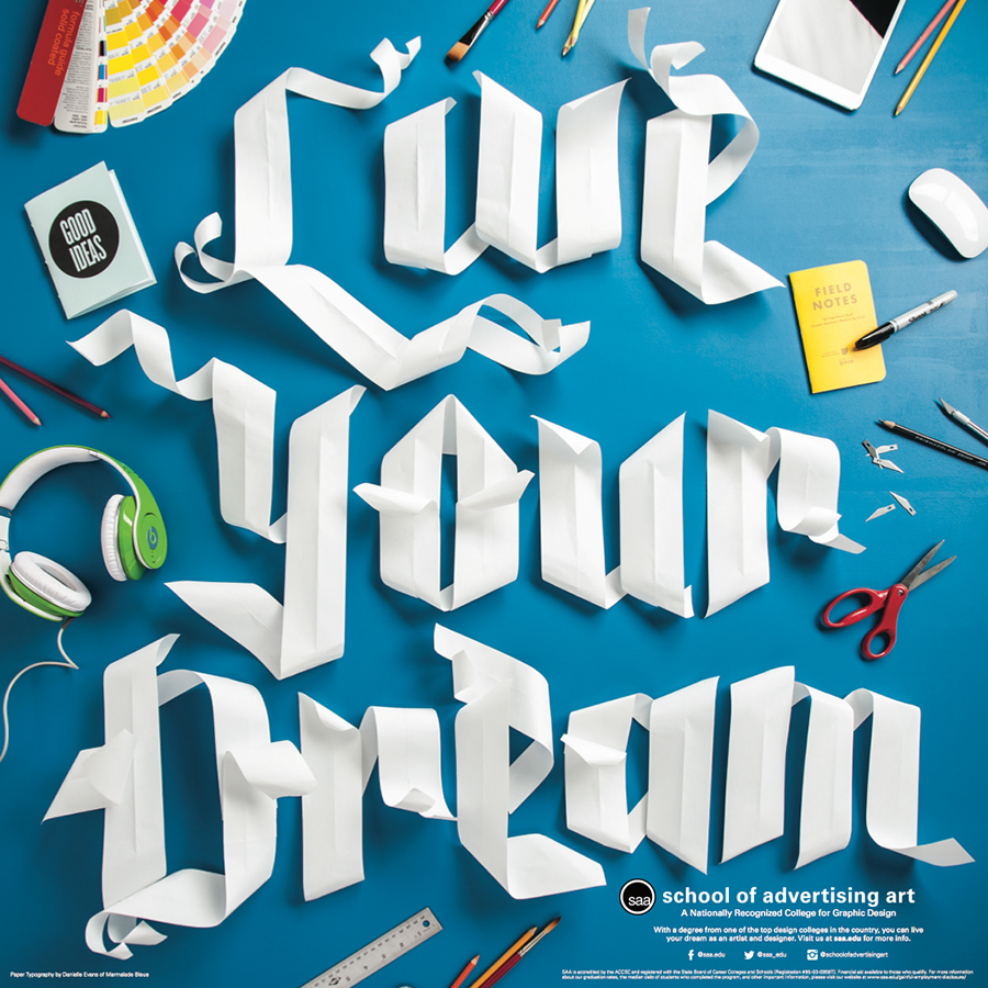Live Your Dream Paper Type On Behance