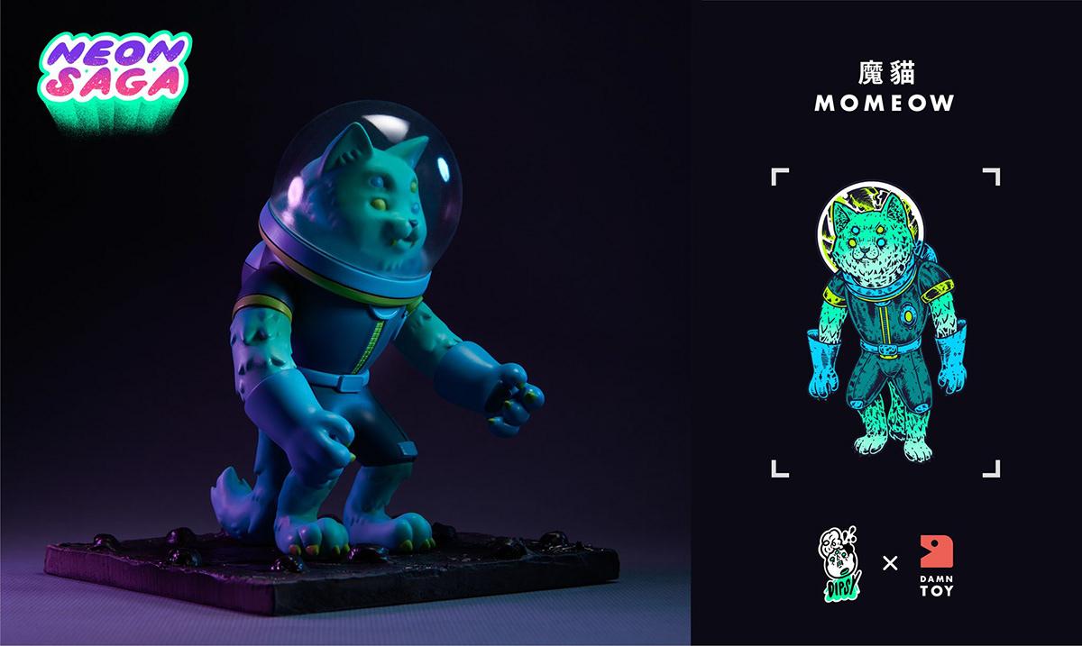 art art toy momeow neon saga pilp Retro sci-fi vinyl vinyl toy