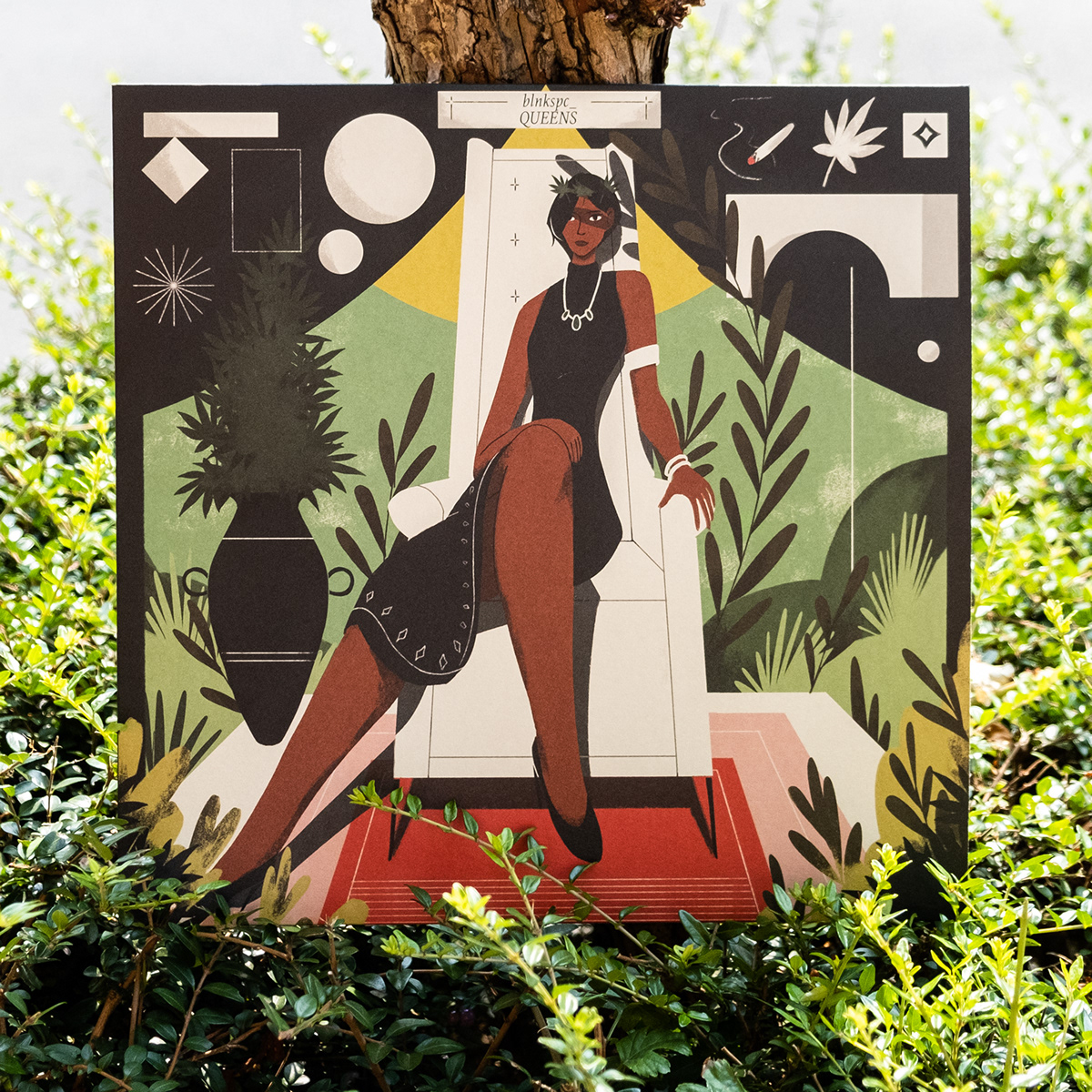 album cover artwork Digital Art  environment figure graphic design  plants queen shapes texture
