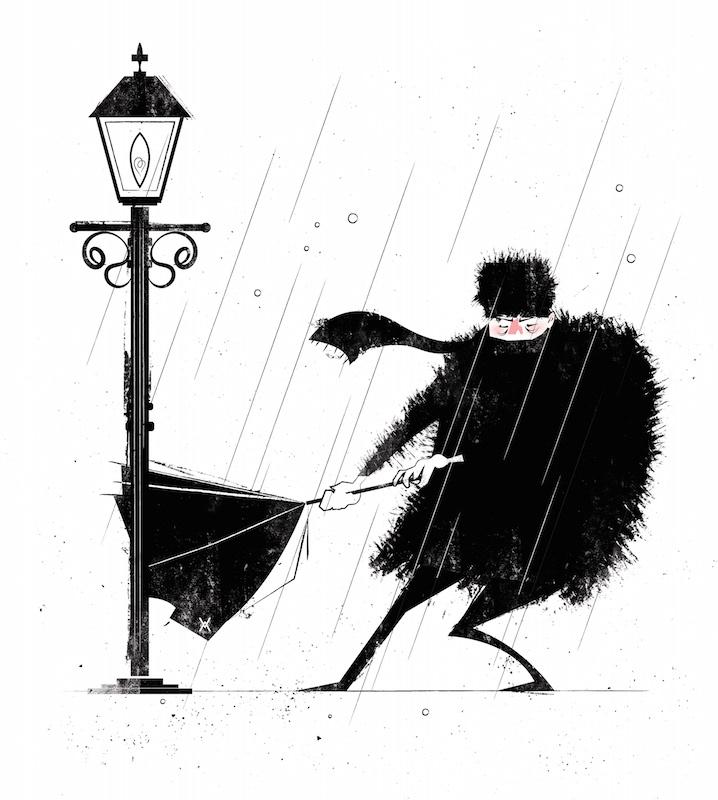 russian rain vector art graphic illustration storm Nature Character VisDev animation  coat