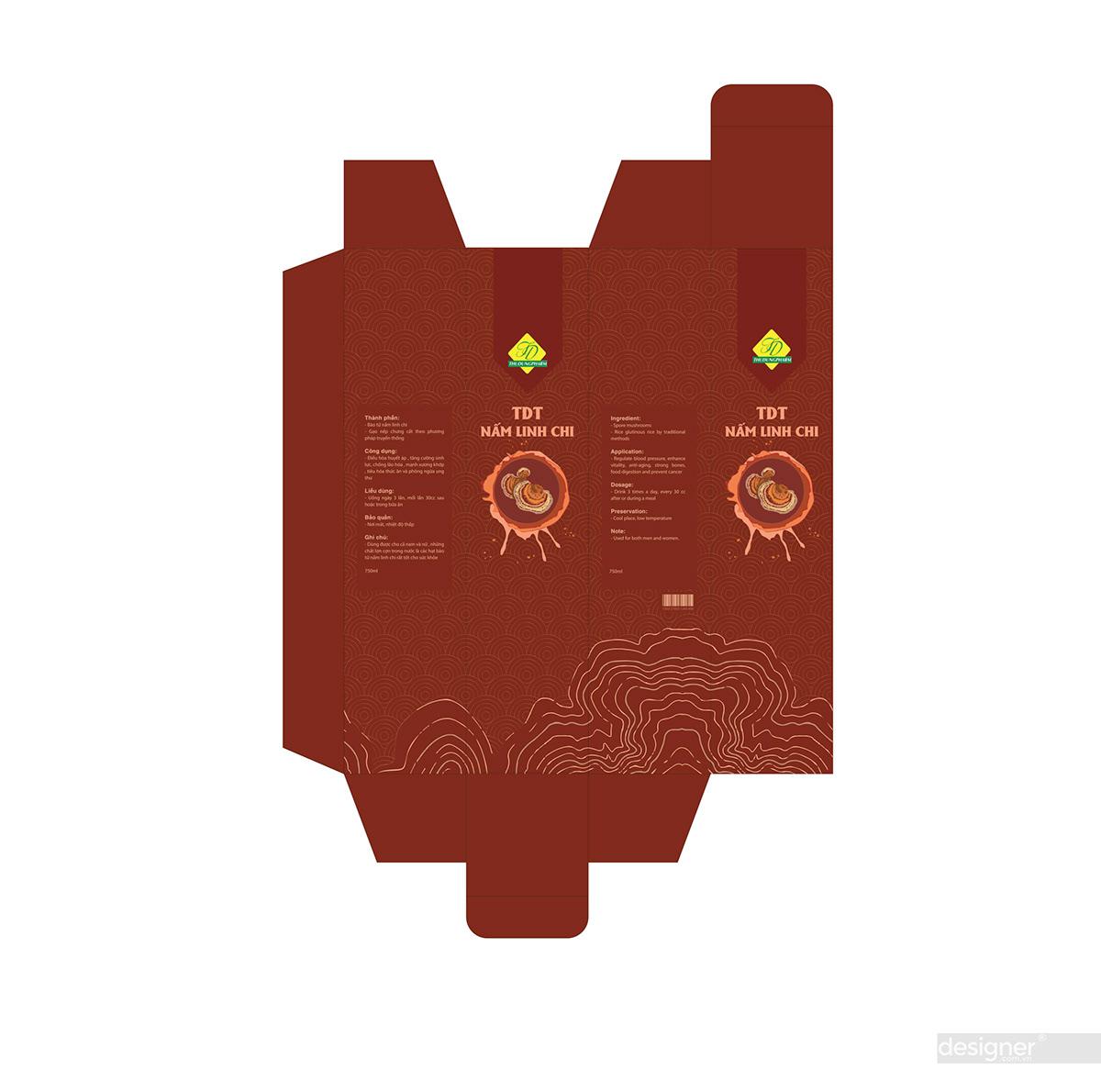 Thiết kế vỏ hộp nấm linh chi