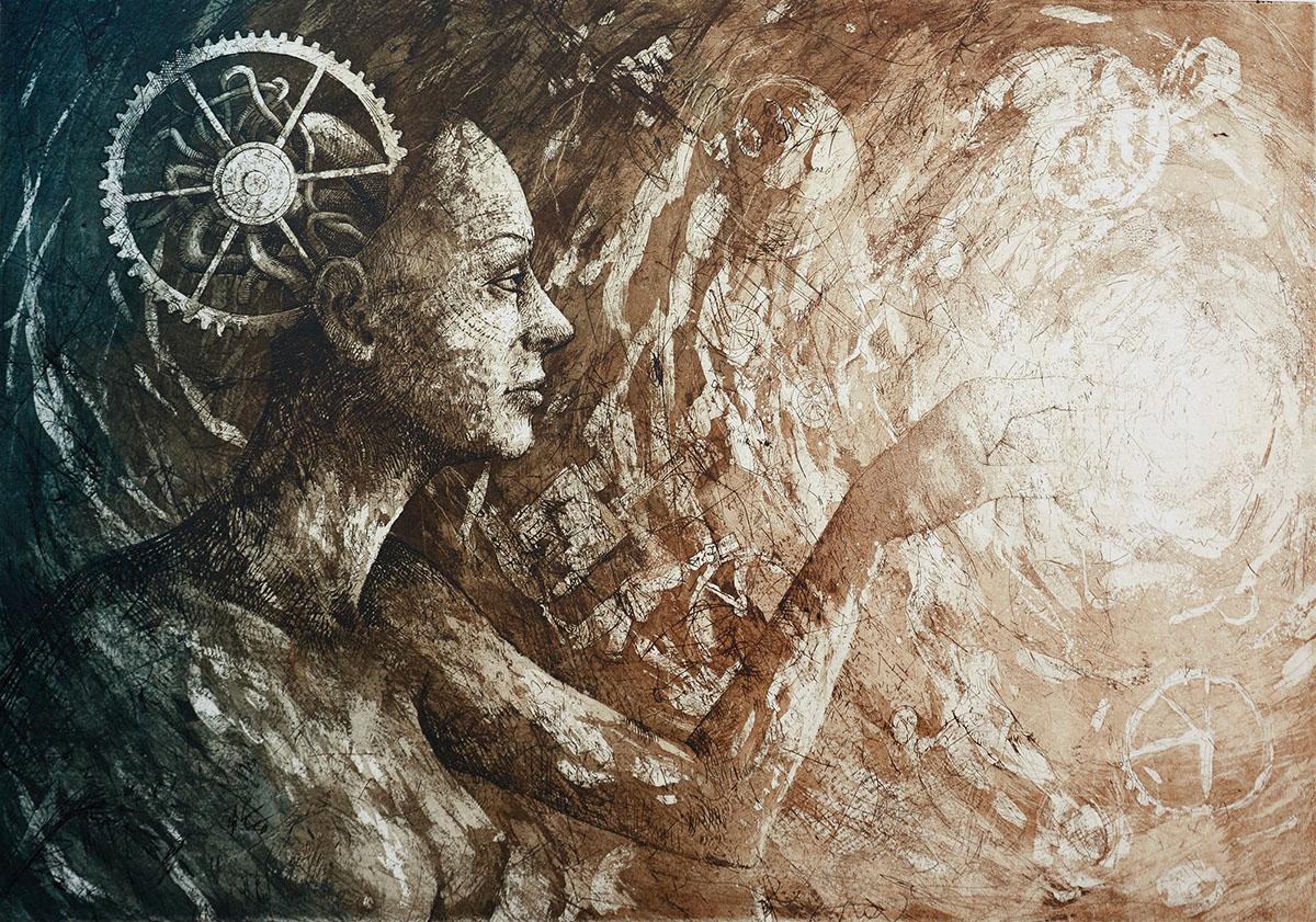 energy women future print artprint intaglio miedzioryt