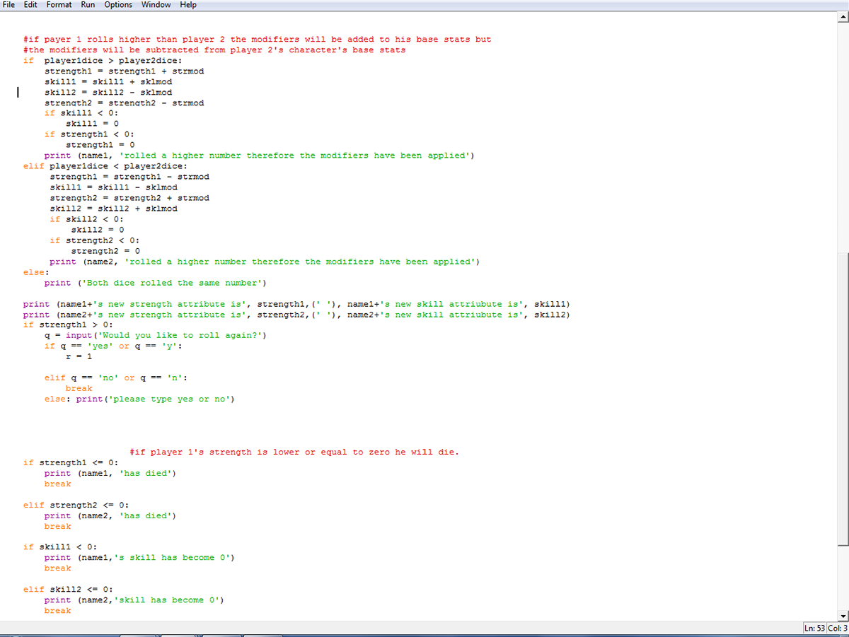 Python code for a small number based fighting game on Behance