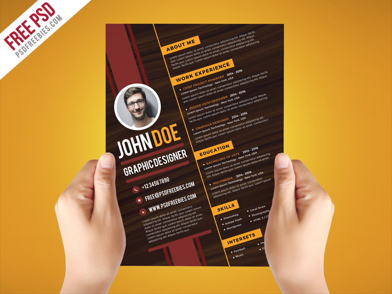 Free PSD Creative Graphic Designer Resume Template On Behance