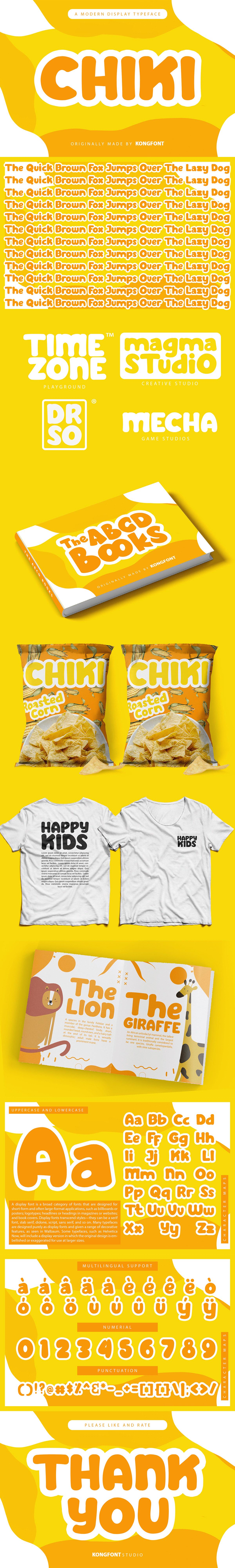 branding  cartoon chiki children cute Display font fonts Invitation Typeface