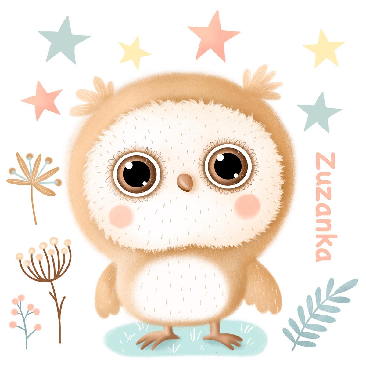 animals baby children ILLUSTRATION  owl sticker wood FOX moon star