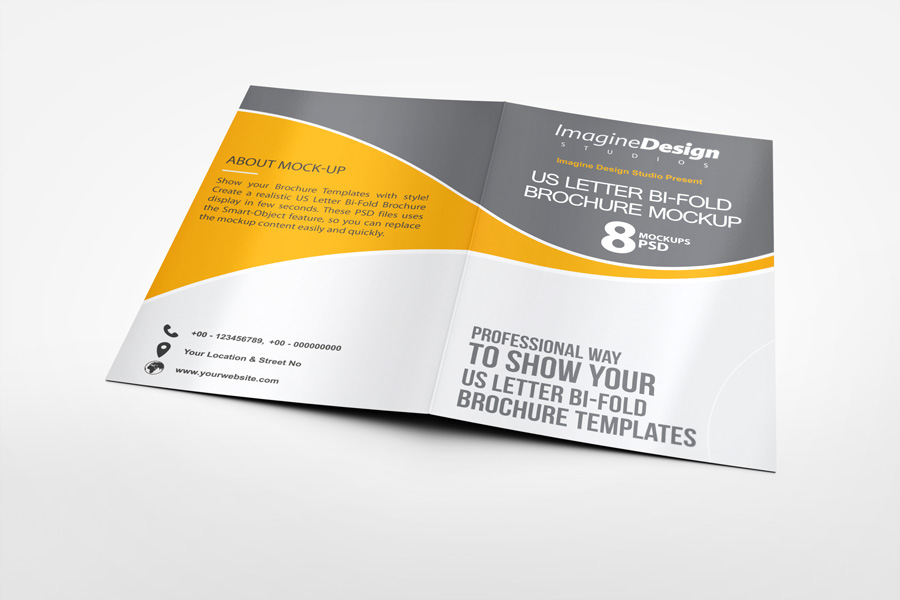 Us Letter Bi Fold Brochure Mock Up On Behance