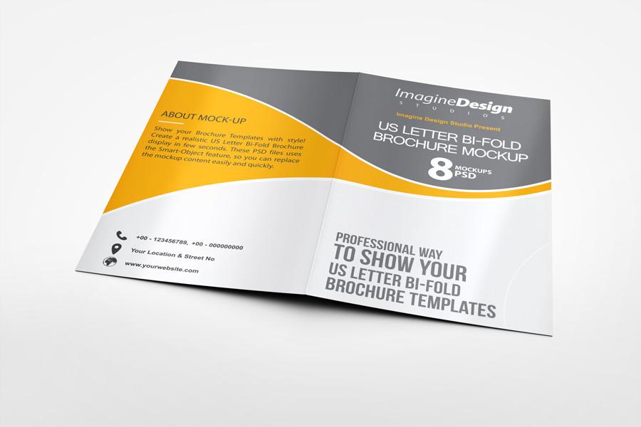us letter bi fold brochure mock up on behance