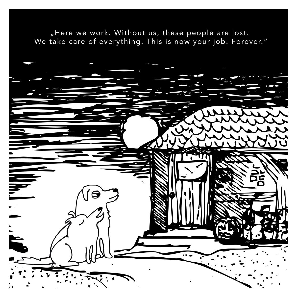 dogs blackandwhite funny simple cartoon comic BinaWirth HfKBremen