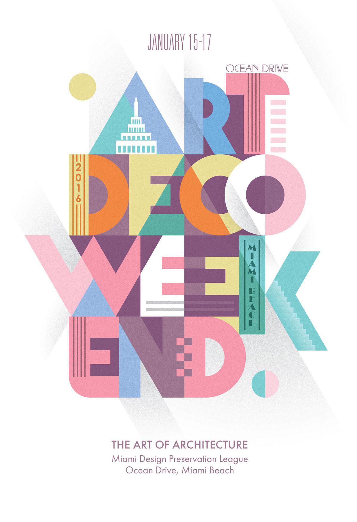 art deco artdeco Style dotz 3s weekend poster Illustrator Adobe Portfolio miami