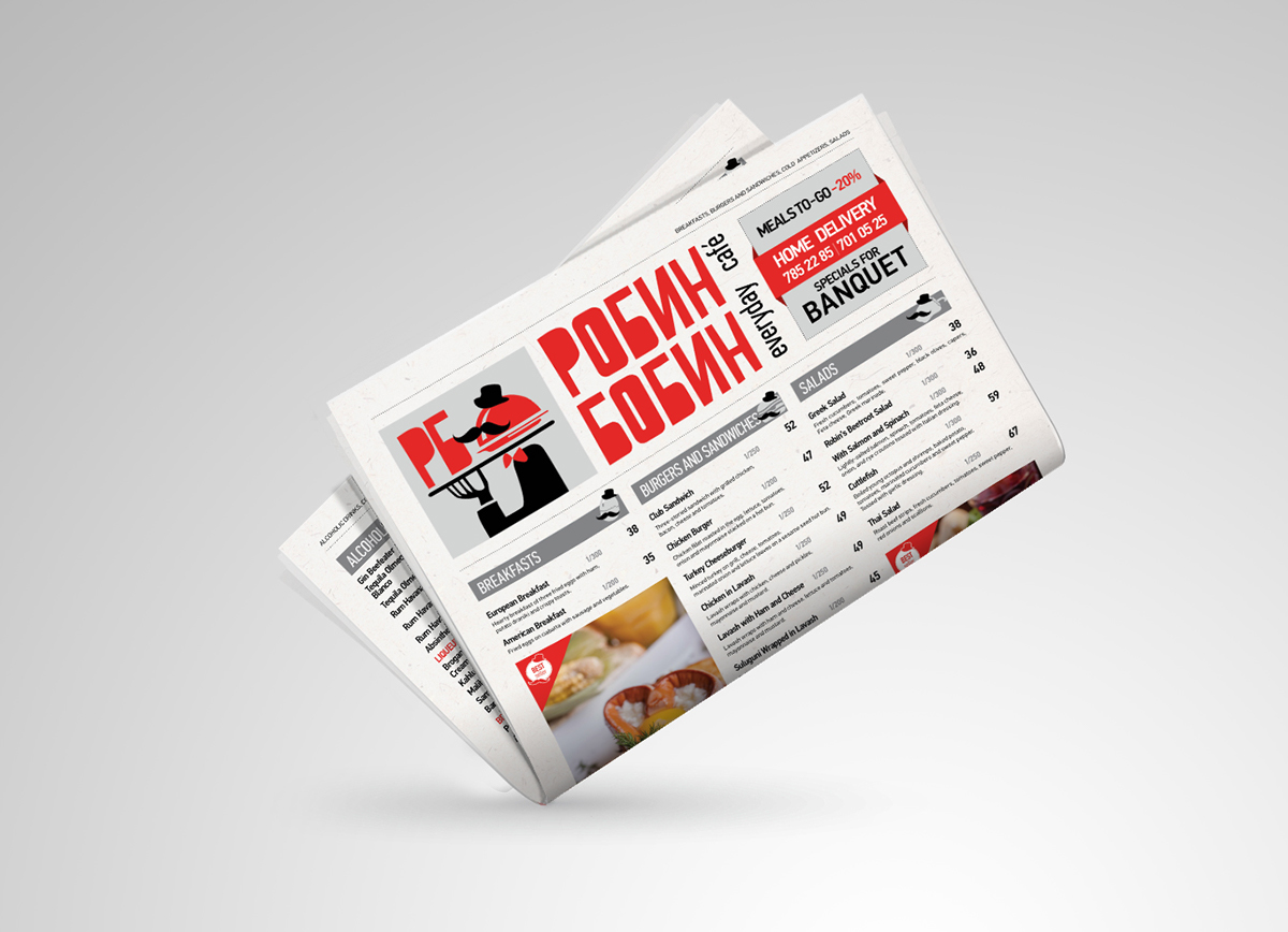 Cafe menu newspaper style on behance