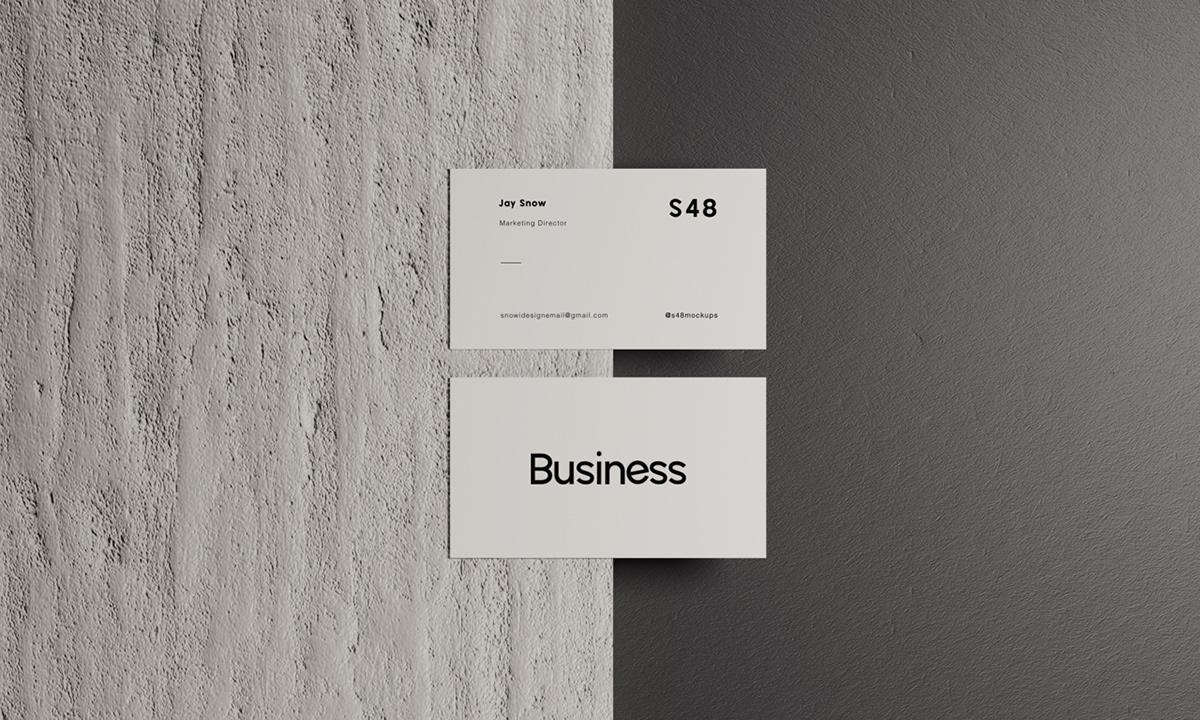 Mockup design business card minimal stone branding  template