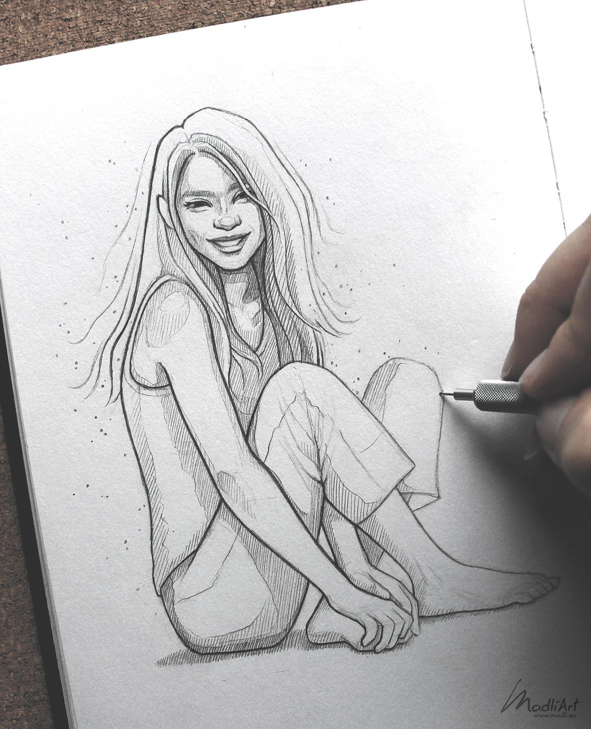 Drawing  girls pencil people portraits sketch sketchbook sketching beauty