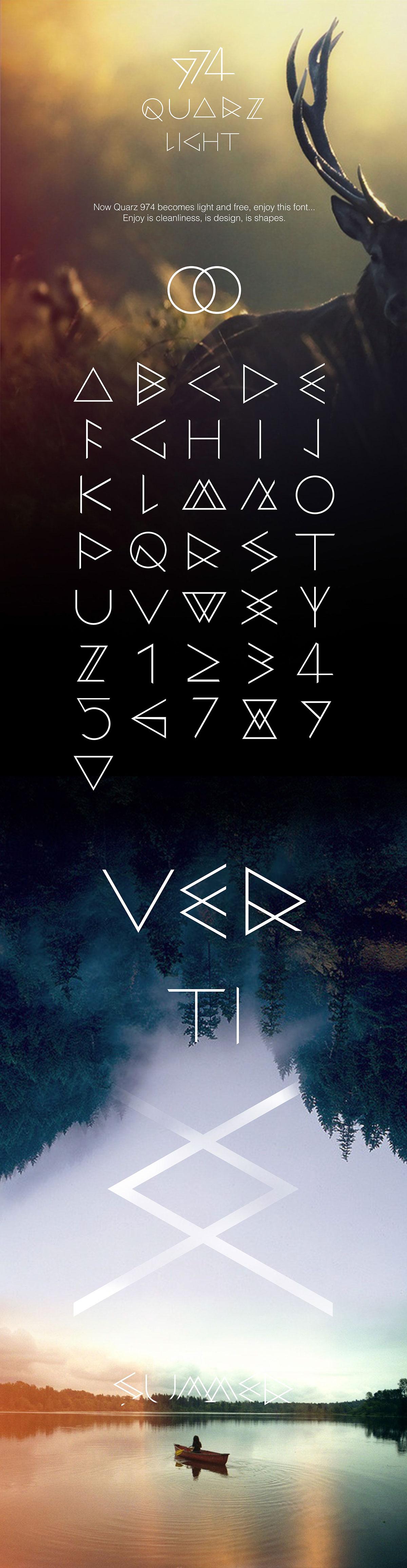 free font triangle summer deer lake typo Behance poster decorative modern geometric minimal
