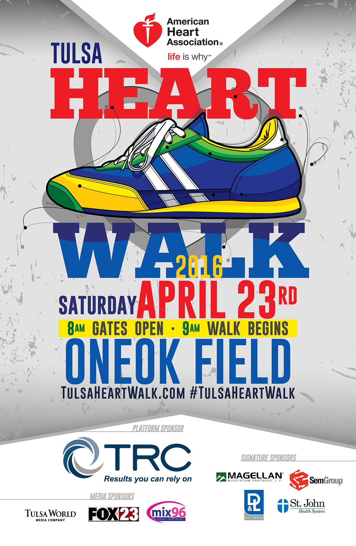 AHA Tulsa Heart Walk Poster on Behance