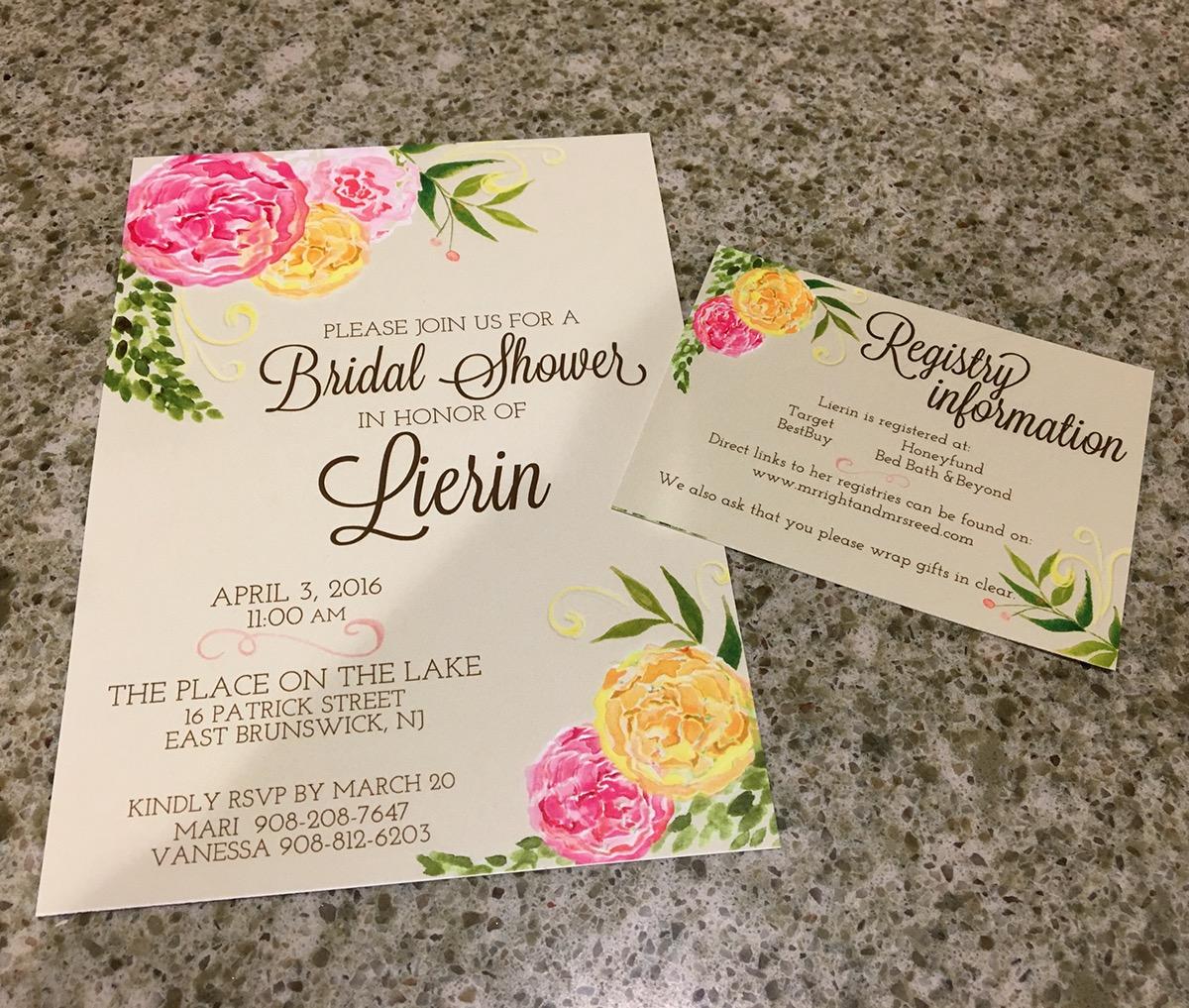 bridal shower invitation insert