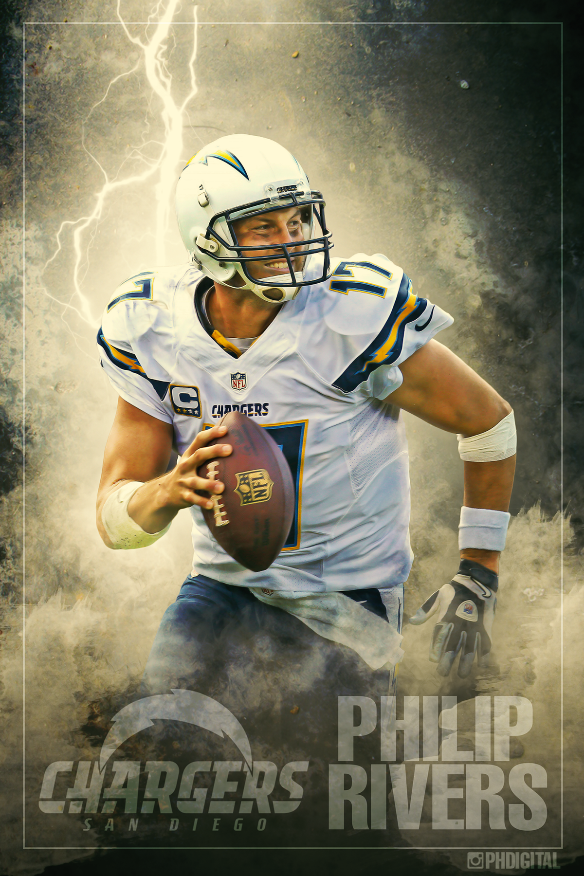 San Diego Chargers Philip Rivers Poster 24 X 36 On Behance